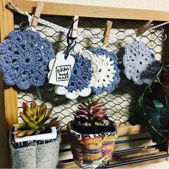 お土産🍫🧁/編み編みコースター/プレゼント🎁/ハンドメイド お友達からのhandmadeのコースター…
