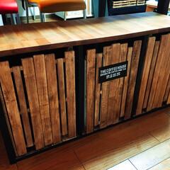 ダイソー/すのこ/カラーボックス/ドア/マグネット/DIY/... すのこで作った、ボックスベンチのドアです…