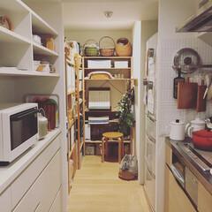 キッチン/パントリー/収納/シンデレラフィット/無印良品/IKEA/... パントリーに、無印良品のオープンシェルフ…