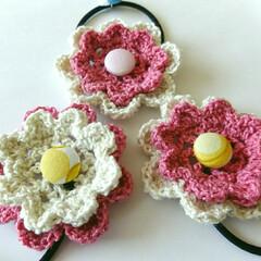 春色/くるみボタン/二重花/ヘアゴム/編み物/ハンドメイド 久しぶりに編み物小物を♡ 二重花のヘアゴ…