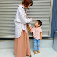 リンクコーデ/ファッション/outfit/親子リンクコーデ/コーディネート 息子さんと ピンクベージュで リンクコー…