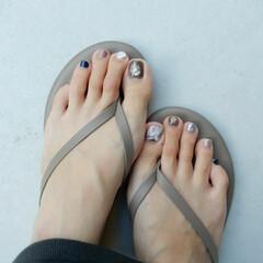 ジェルネイル/ネイル/nail/ファッション フットnailもあたらしく❤️💛 fas…