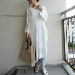 outfit/コーディネート/コーデ/夏コーデ/ワンピース/ファッション 夏は透け感や ゆったりしたリラックス ス…