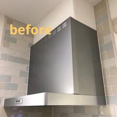 キッチン/レンジフード/ベニア板/インテリア/DIY/ペイント/... レンジフードにもベニア板を貼りました( …