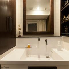 リフォーム/リノベーション/住まい/マンション/建築/洗面室/... 下の洗面台は汚れにくくお手入れのしやすい…