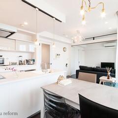 リフォーム/リノベーション/住まい/建築/マンション/キッチン/... 明るく開放的なダイニングキッチン。キッチ…