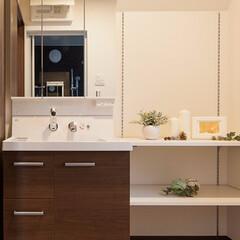 洗面化粧台/洗面室/リフォーム/リノベーション バケツや洗面器もラクラク入る広い洗面ボウ…