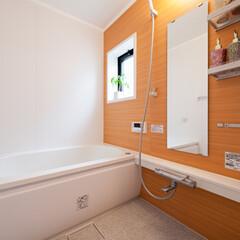 浴室・風呂/浴室 広々として明るいバスルーム。壁の一面は洗…