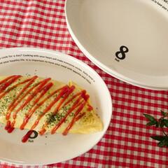食器好き/グリーン/ギンガムチェック/IKEA/カフェ風/オムライス/... オーバル型のプレートは使いやすいですね~…