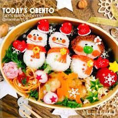 お弁当/キャラ弁/お弁当作り/デコ弁/クリスマス弁当/クリスマス/... クリスマス弁当🎄