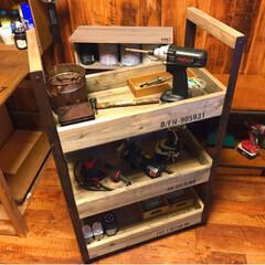ワゴン/ガレージ/工具箱/男前インテリア/DIY/家具/... インダストリアルなツールワゴンを作りまし…