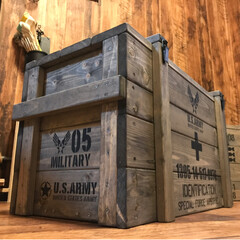 アンモボックス/コンテナボックス/雑貨/DIY/家具/収納/... 弾薬箱風コンテナボックスを制作(^^) …