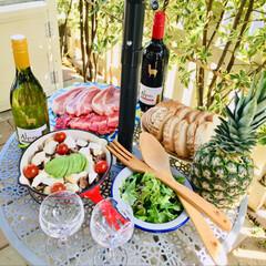 皆さん久しぶりです/お庭バーベキュー/GW/至福のひととき アサヒワインさんのアルパカワイン モニタ…