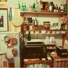 壁面収納兼ディスプレイ/DIY/キッチン/おうち この一角全部作ったんだなーとしみじみ… …