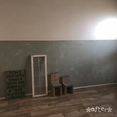 シンプルインテリア/子ども部屋DIY/古材風クッションフロア/壁ペイントDIY/DIY/インテリア 中3息子部屋をdiyしましたぁ。。。  …