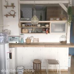木の温もり/古材/足場板棚diy/器のある暮らし/漆喰DIY/窓枠DIY/... キッチンカウンターをdiyしました。 見…