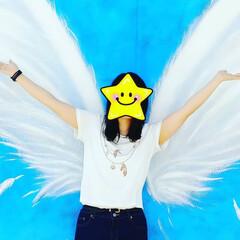 おでかけ/羽/娘/天使の羽/青色 白い大きな羽が素敵!娘もご機嫌😃🎵