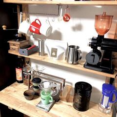 初心者DIY/コーヒー/ワトコオイルダークウォルナット/ディアウォール/棚/DIY/... 趣味のコーヒー器具を置く棚が欲しいと思い…(1枚目)