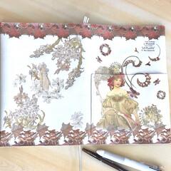 自分好みにカスタマイズ/デコパージュ/ジュタドール/雑貨/ハンドメイド B5サイズの手帳カバーを自作して、大好き…(1枚目)