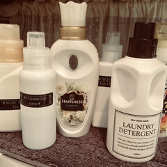 テプラ/ラベリング/洗濯/詰替ボトル/洗濯ラック/300均/... 洗濯洗剤の詰替ボトル。 ✼市販の専用ボト…