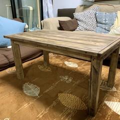 サイドテーブルDIY/ローテーブルDIY/ウッドショック/廃材利用/SPF材/DIY ローテーブル作りました⚒ サイドテーブル…(2枚目)