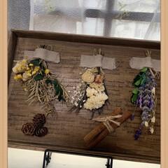 木箱アレンジ/ドライフラワー/セリア/ハンドメイド 年末に頂いた稲庭うどんが入っていた木箱 …