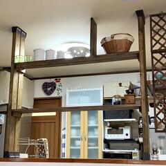 カウンターBAR/ディアウォール/キッチン棚DIY/DIY/キッチンカウンターDIY/カフェ風 キッチンカウンターの上にディアウォールで…(1枚目)