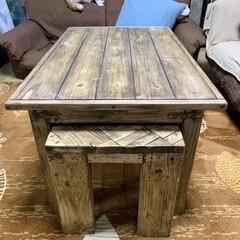 サイドテーブルDIY/ローテーブルDIY/ウッドショック/廃材利用/SPF材/DIY ローテーブル作りました⚒ サイドテーブル…(4枚目)