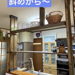 カウンターBAR/ディアウォール/キッチン棚DIY/DIY/キッチンカウンターDIY/カフェ風 キッチンカウンターの上にディアウォールで…(2枚目)