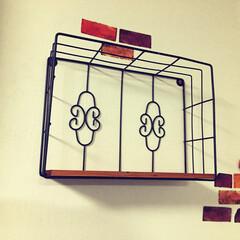 福袋/インテリア 福袋に入ってた飾り棚 テレビ横の壁にかけ…