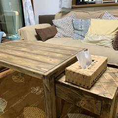 サイドテーブルDIY/ローテーブルDIY/ウッドショック/廃材利用/SPF材/DIY ローテーブル作りました⚒ サイドテーブル…(5枚目)