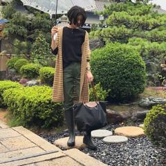 レインブーツ/ベイカーパンツ/GU/UNIQLO/キャシャレル/ファッション 雨の日コーデ♪ *** 👘カーディガン→…(1枚目)