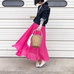 神戸レタス/UNIQLO/ユニクロ/リアルキューブ/カゴバッグ/ボーダー/... ベーシックコーデに綺麗なカラーを 取り入…