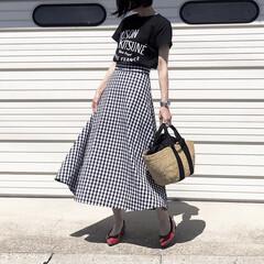 ロゴT/カゴバッグ/スカート/バレエシューズ/muun/ムーニュ/... GUの大ヒットスカートと お気に入りのキ…