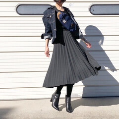 プチプラコーデ/プリーツスカート/ショートブーツ/UNIQLO/ファッション 数年前のプリーツスカートの着回し♪ **…