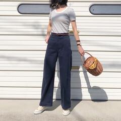 スニーカー/コンバース/UNIQLO/ユニクロ/ボーダーT/夏ファッション/... 半袖ボーダーTは何種類か持っています😊 …