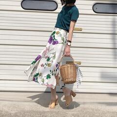 サンダル/スカートコーデ/Tシャツコーデ/アミアミ/神戸レタス/ミンスショップ/... お気に入りの花柄スカート♪ *** 👚#…