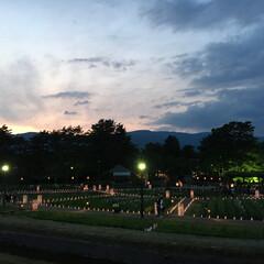 夢灯り/おでかけ 夕焼けで灯りが綺麗です