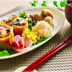 朝ごはん/ワンプレート/フード/おうちごはん 今日の朝ごはん  いなり寿司 ( おこわ…