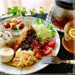 朝ごはん/フード/おうちごはん/ハンドメイド 朝ごはん  バターライス 鯵フライ  レ…