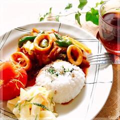 ランチ/昼ごはん/フード/おうちごはん 日曜日の 昼ごはん  もち麦入ご飯 ピリ…