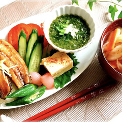 和食/朝ご飯/ワンプレート/おうちごはん 朝ご飯  もち麦入りご飯  鰊の …