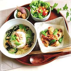 お茶漬け/朝ごはん/フード/おうちごはん 朝ごはん 焼きおにぎりの鮭茶漬け 竹輪と…