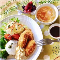 ワンプレート/朝ご飯/おうちごはん/フード おはようございます☀  今朝は カキフラ…