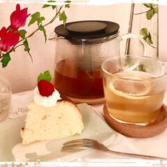 おやつ/スイーツ/器/夕焼け/フード 三時のおやつは、手作りケーキ  nago…