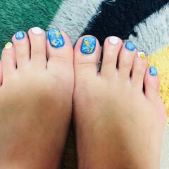 セルフ/夏/フットネイル/ネイル/ジェル やっと足の爪塗りました。 夏っぽくね。