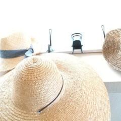帽子掛け/帽子収納/IKEAで購入/麦わら帽子/収納/夏対策/... 夏のアイテム☀️ 麦わら帽子です👒 かわ…