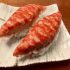 タラバ蟹/グルメ/フード/おうちごはん タラバ蟹握り 🦀 タラバ蟹軍艦巻き  高…(1枚目)