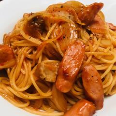 スパゲッティ/グルメ お昼は簡単に スパゲッティナポリタン🍝 …