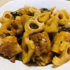 中華/おうちごはん 今日の晩御飯は中華  レンコンと鶏肉の黒…